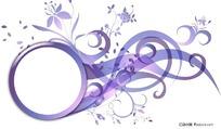 经典紫色潮流花纹装饰框素材