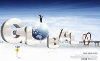 胸怀天下全球商务PSD分层模板