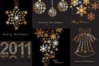 雪花组成的圣诞节装饰图案矢量素材