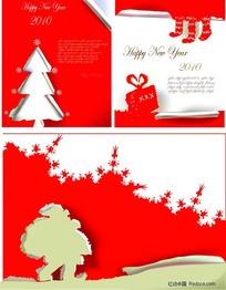 红色圣诞海报矢量素材