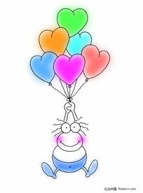 浪漫情人节素材-桃心气球