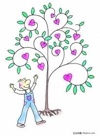 浪漫情人节素材-桃心树