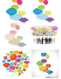 五颜六色的对话泡泡矢量素材