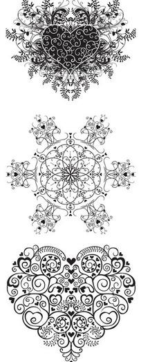 黑白线条花纹