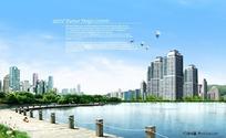 湖畔美景园林城市景观,公园湖泊木板栈桥城市高层楼宇建筑群,树林野草蝴蝶热气球城市公园风景图片素材,