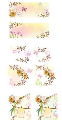 蝴蝶飞舞的花纹背景