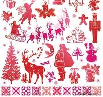 圣诞简笔画矢量图_圣诞节