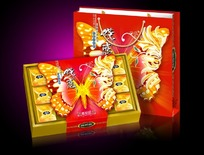 蝶恋巧克力月饼包装标签psd设计模板下载