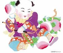 中华剪纸童子寿桃狩猎图