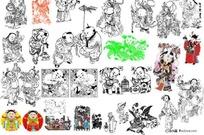 中国清代矢量民间艺术图矢量传统图片