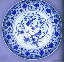中国瓷器文物-花鸟图案青花瓷碗