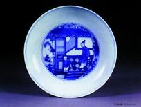中国瓷器文物-人物图案青花瓷盘