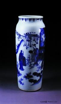 中国瓷器文物-人物图案青花瓷瓶