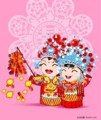 Q版卡通中国古装新婚娃娃放鞭炮素材