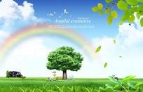 草地上的绿树图片素材