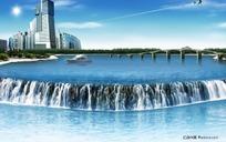 江边的城市素材