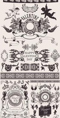 情人节主题欧式华丽古典花边花纹矢量素材