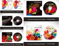 绚丽的花纹CD与包装矢量素材