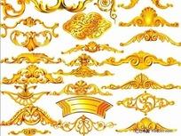 黄金花纹边角PSD分层模板