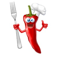 手拿叉子的卡通红辣椒