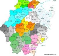 浙江省县市分布-矢量地图