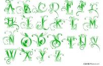 绿色花纹24个字母psd字体