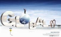 韩国全球商务概念PSD分层模板
