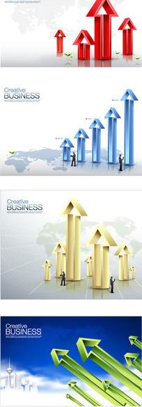四款商务数据箭头商业海报矢量素材