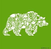 环保元素拼贴的动物形象矢量素材