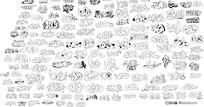 卡通文字线图