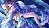 蓝色风格卡通美少女