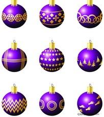 精美圣诞彩球矢量素材