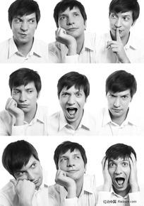 男人不同的表情姿势