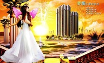 天使美女与地产广告