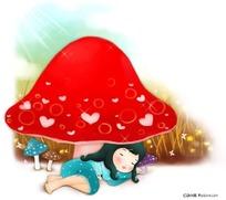 卡通蘑菇睡觉女孩插画