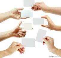 出示展示名片卡片的手势