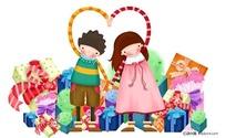 小女孩和小男孩心形礼物卡通画