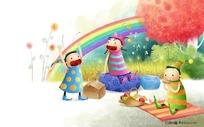 雨过天晴的野炊图卡通插画