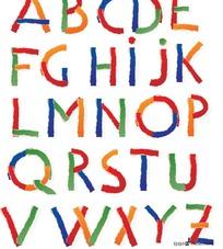 彩色纸条拼贴英文字母矢量图