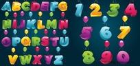 带气球的立体英文字母数字