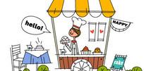 卖蛋糕的卡通小女孩