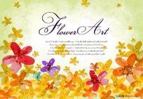 彩色花朵飞扬背景