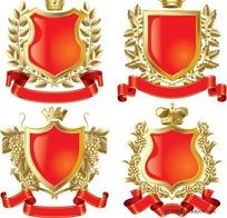 皇冠盾牌欧式标签设计矢量图