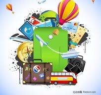 长途旅行箱及相关旅行用品矢量素材