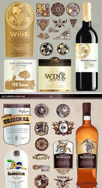 葡萄酒瓶贴设计矢量图