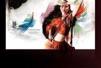 羽毛中国红水墨中国风