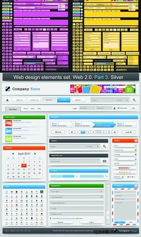 主色调网页模板设计矢量素材
