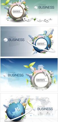 连通全球环保商业海报矢量图