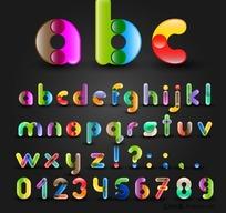 色彩拼接字体设计矢量素材