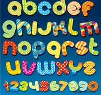 绚丽花纹字母数字矢量素材